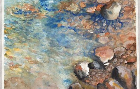 Pebbles under the water 16x20 inch watercolor-Mariam Qureshi