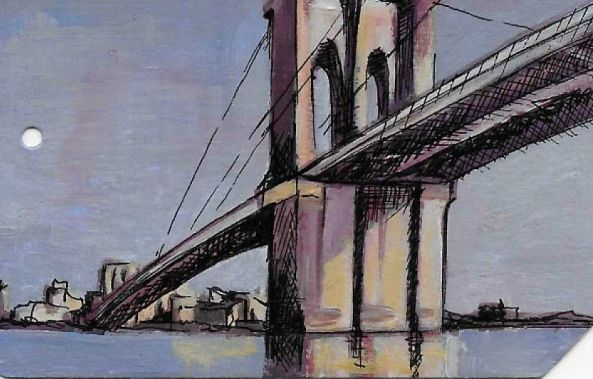 Brooklyn Bridge on the back of a used NYC Metro Card-Stephanie Fonteyn