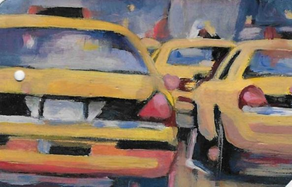 Taxi Jam on the back of a NYC used Metro Card-Stephanie Fonteyn