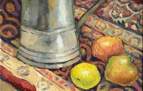 Still life with fruits and silver mug-George Grim