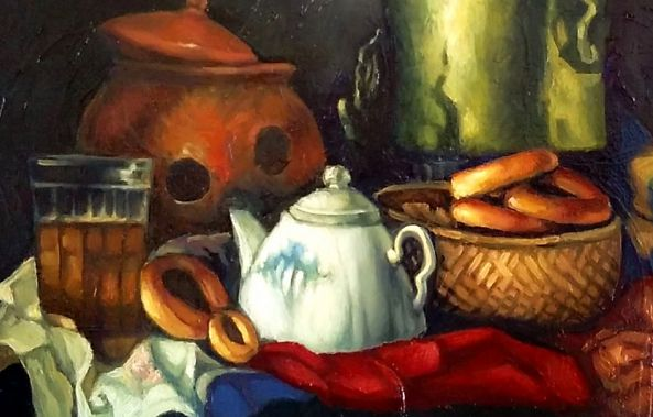 Still life with Russian pastry. -George Grim