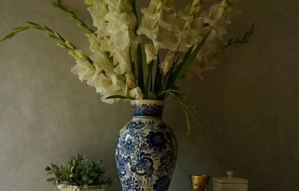 Still life with white Gladiolas-Claudia Stanetti