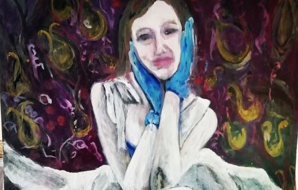 self portrait with blue gloves-Suzette Swart