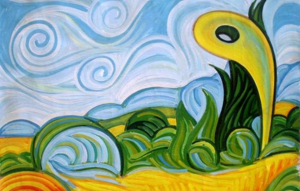 Wheatfield with Cypresses of Van Gogh by Israel Da Costa, with an interference.-Israel  Da Costa