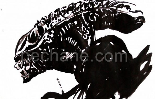 alien-pechane sumi-e