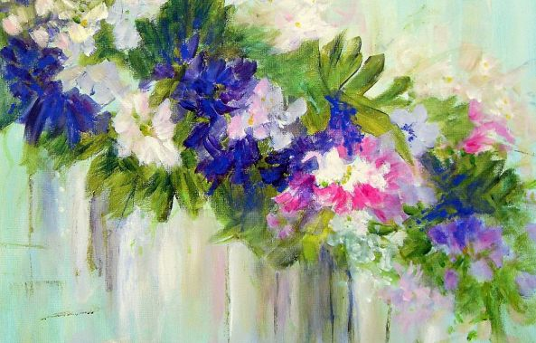 Flowers in Blue-White-Magenta-Aase Lind