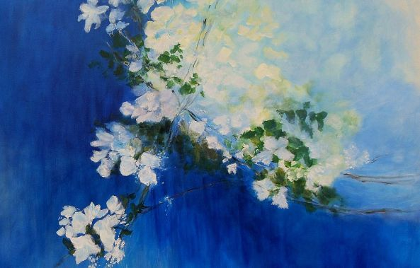 Flowers in Blue - SOLD-Aase Lind