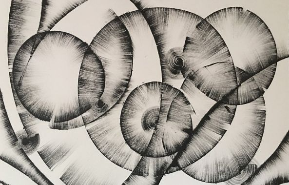 Black and White Abstract Drawing #16 by Kozyuk-Khrystyna Kozyuk