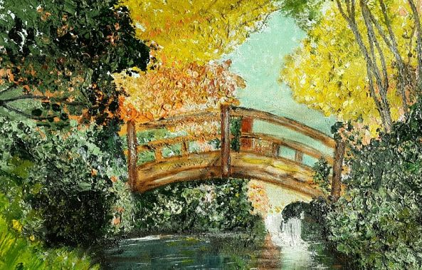 Bridge over water colorful trees-Odette  Frank