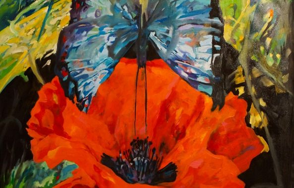 The poppy and blue butterfly-Dragos Botezat