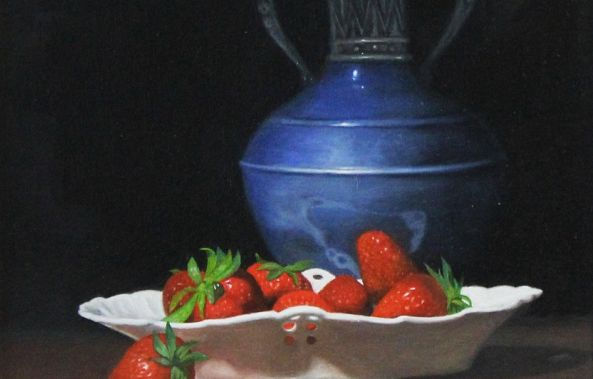 Blue Vase and Strawberries-James Zhao