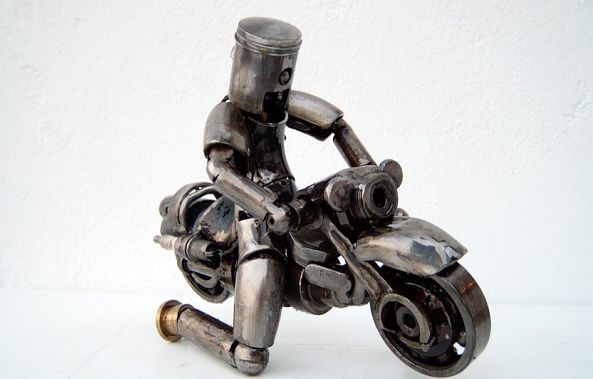 Motorcycle rider scrap metal sculpture-Dendrinos gIANNIS