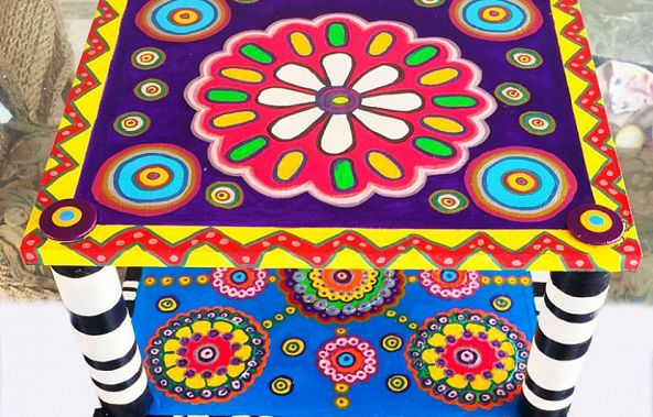 Absolutely Fabulous Uber Cool & Funky Mandala Table / Art Piece-Maxine Page