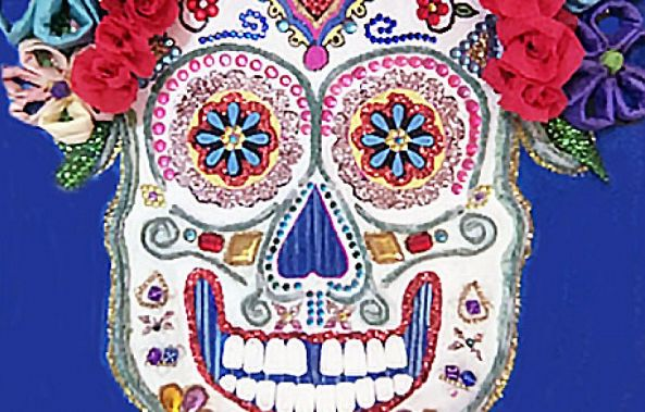 Sugar Skull Painting & Collage—Totally Unique Stunning and Colorful Mexican Folk Art-Maxine Page