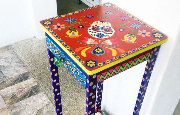 Unique & Stunning Hand Painted Mandela Mexican Folk Art Wine Rack & Table-Maxine Page