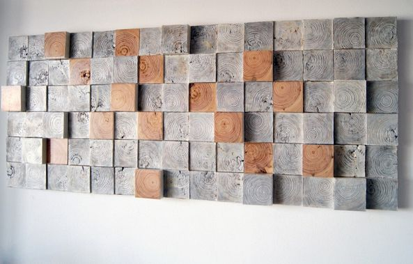 Wall sculpture sound diffusing panel-Wood Blocker