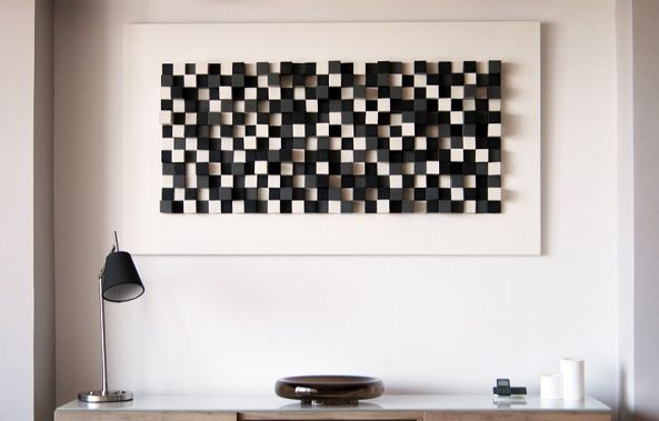 Wall Wood sculpture sound diffuser-Wood Blocker