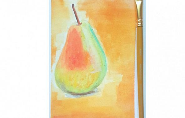 Pear made with watercolor -yubirna paulino