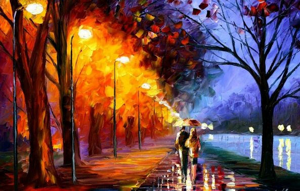 ALLEY BY THE LAKE — oil painting on canvas-
