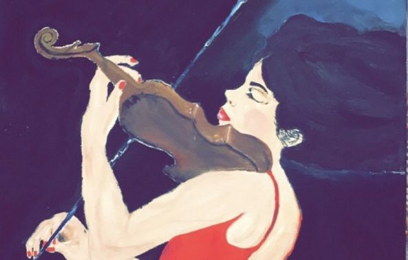 GIRL IN RED DRESS PLAYING  VIOLIN-Ghita Chkouri