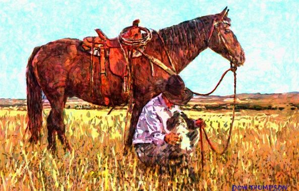 cowboy with dog-Dow Thompson
