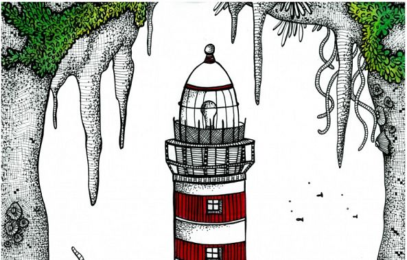 The Lighthouse in the underwater cave-Jessie's Art