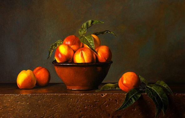 Nectarines and Terracotta Bowl-Dietrich Moravec